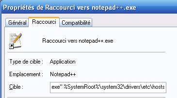 raccourcie d'ouverture du fichier host